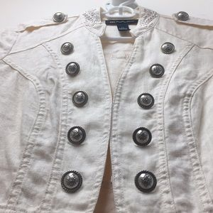 INC White Linen Jacket w Silver Buttons